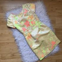 Nwt Sara Campbell Neon Floral Cap Sleeve Dress Size 2 388 Yellow Pink Orange Photo