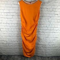 Nwt Sara Campbell Orange Linen Blend Ruched Sleeveless Dress- Size 10 Photo