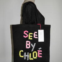 Nwt See by Chloe Black Logo Tape Large Cotton Shopping Bag Tote Shopper Handbag  Photo