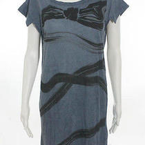 Nwt See by Chloe Blue Black Bow Print Short Sleeve Mini Tunic Dress Sz 4 180 Photo