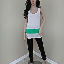 Nwt See by Chloe Green Banded Waist Detail White Silk Blend Tee Shirt 44 385 Photo