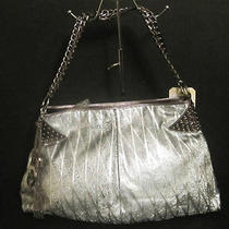 Nwt Sharif Couture Art Deco Metallic Leather Hobo With Pewter Hardware & Studs Photo