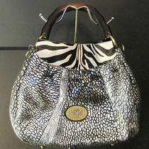 Nwt Sharif Couture Pewter Leather and Zebra Haircalf Hobo With Wooden Handle Photo