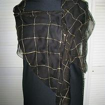 Nwt Sheer Black and Gold Scarf With Gold Thread and Gold Sequin Embellishment Photo