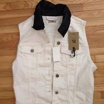 Nwt Shopbop Dl1961 Rizzo Leather Collar Denim Jean Jacket Vest M Seen on Kelly O Photo