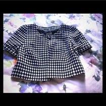 Nwt Short Sleeve Blazer Career Jacket Coat Chanel Look Tweed White Black S Loft Photo