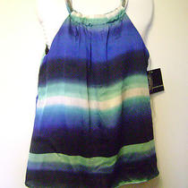 Nwt Signature Studio Hippie Boho Aqua Blue Green Striped Metal Necklace Halter M Photo