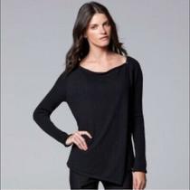 Nwt Simply Vera Vera Wang Black Asymmetrical Knit Sweater Sizes Photo