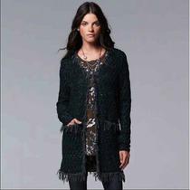Nwt Simply Vera Wang Dark Green Duster Cardigan Sweater Jacket Fringed S M  Photo