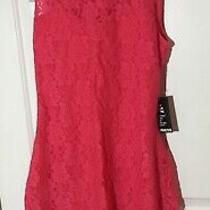 Nwt Size L Express Dress Solid Orange Lace Sheath Open-Back Sleeveless Lined 88 Photo