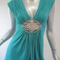 Nwt Sky Marine Aqua Crystal Embellishment Top L  Photo