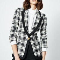 Nwt Smythe Black & White Taped Peaked Lapel Blazer Size 2 Bnwt 795 Photo