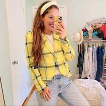 Nwt Smythe Yellow Puff Shoulder Blue Gray Gold Button Lapel Blazer Jacket 8/m Photo