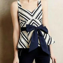 Nwt Sold Out Anthropologie Maeve Navy & Cream Peplum Top Shirt Blouse 6 S M Photo