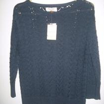 Nwt Sonoma Life  Style Petite Dk Navy Heather Textured Pintelle Sweater Pm Photo