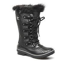 Nwt Sorel Tofino Black Glitter Waterproof Leather Canvas Insulated Boots Sz 9 Photo