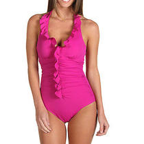 Nwt Spanx Swimwear Long and Lean Halter One Piece Size 12 Berry Pink 188 Photo