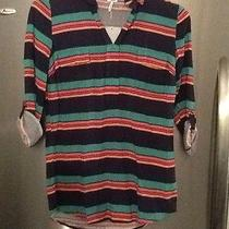 Nwt Splendid Brand Striped Tunic Shirt Navy Extra Small Xs New Free Shipping Photo