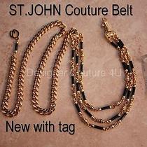 Nwt St John Couture Black Enamel Swarovski Crystals Gold Gold Link Belt Necklace Photo