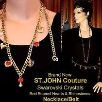 Nwt St John Couture Swarovski Crystals Hearts Goldplated 9 Charms Necklace Belt Photo