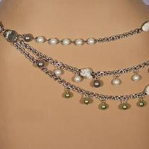 Nwt St. John Knits Chain Stone & Pearl Belt Necklace 36