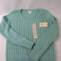 Nwt st.john's Bay Women's Knitted v Neck Sweater. Women's Size S. Green Color Photo