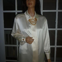 Nwt St John Silk Cream Logo Buttons Chain Necklace Blouse Sz 6 Photo