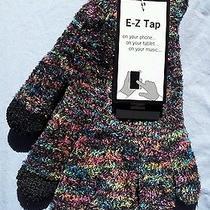 Nwt Steve Madden Etouch Gloves Black & Fuchsia Variegated Soft & Plush Photo