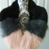 Nwt Steve Madden Faux Fur Collar Pink Gray Black Colorblock Faux Leather Tie Photo