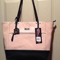 Nwt Stone Mountain Pebble Leather Talia Tote Blush Pink Black Bone  Photo