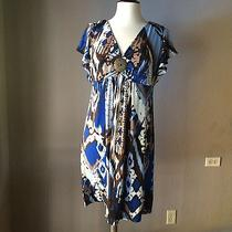 Nwt Style & Co Dress Petite Extra Large Ikat Silky Knit Blue Brown Macys Photo