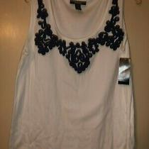 Nwt Style & Co. White With Tartan Navy Embellished Cotton Knit Tank Top Size 1x Photo