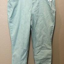 (Nwt) style&co Women's Plus Size Aqua Mint Mid Rise Cuffed Denim Capri Pants Photo