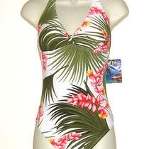 Nwt Sun Blush Whites/green/red Floral One Piece Halter  Maillot Swimsuit 12 Photo