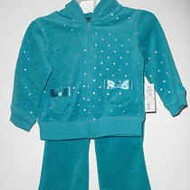 Nwt Super Cute Girls' 2-Piece Velour Velvet Set. Aqua Hoodie & Pants. Size 24m. Photo