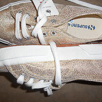 Nwt Superga Sparkle Gold Canvas Tennis Shoes Thick Soles Size 5 Athletic School Photo