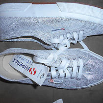 Nwt Superga Sparkle Silver Canvas Tennis Shoes Thick Soles 8.5 Athletic School Photo