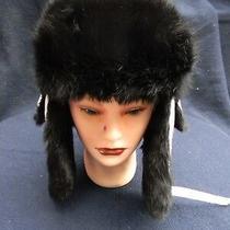 Nwt Surell Genuine Rabbit Fur Trim Quilted Bomber Trooper Hat White Black Fur  Photo