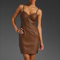 Nwt Susana Monaco 100% Lamb Leather Brown Corset Bodice Cocktail Dress Sz 2 Photo