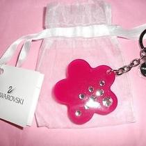 Nwt.  Swarovski  Chrystal & Lucite Fuchsia Flower Key Ring/key Chain msrp95.00 Photo