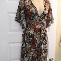 Nwt Sweet Pea Green Floral Print Short Slv Surplice Neck Dress Size S Small Photo