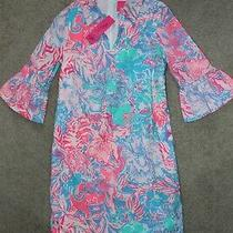 Nwt Sz 0 Lilly Pulitzer Ginger Stretch Dress Viva La Lilly Pink Blue Cotton Photo