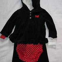 Nwt Sz 6 M Carter's 3pc Set Black Velour Jacket & Pants Red Polka Dot Bodysuit Photo