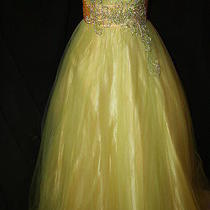 Nwt Sz 8 Lime/yellow Full Tulle Ball Gown Blush Prom 5020 Quinceanera Prom Photo