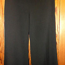 Nwt Sz 8 Vince Camuto Black Wide Leg Trouser Pants Smooth Waist Big Side Zip Photo