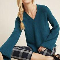 Nwt Sz Xs Joy Fringed v Neck Sweater Dark Turquoise Anthropologie  Photo