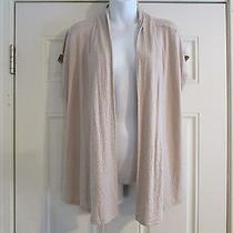 Nwt Talbot's Women's Open Lightweight Sweater Size Large Rayon Beige and White  Photo