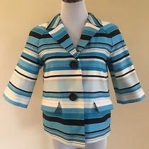 Nwt Talbots Cropped Striped Blazer Size 6 Blue Black White 3/4 Length Sleeve Photo