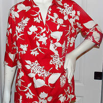 Nwt Talbots Size 14w Stretch Wrap Front Red & White Blouse Top Shirt Photo