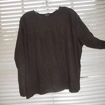 Nwt Talbots Woman  Brown Shimmer  Long Sleeve Tee  1x Photo